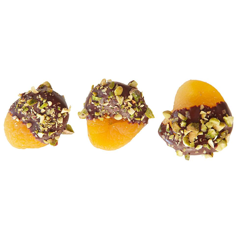 Satisfy your sweet tooth with these chocolate-dipped dried apricots for a healthy dessert. Try this chocolate-dipped fruit recipe with slices of your favorite dried fruit.