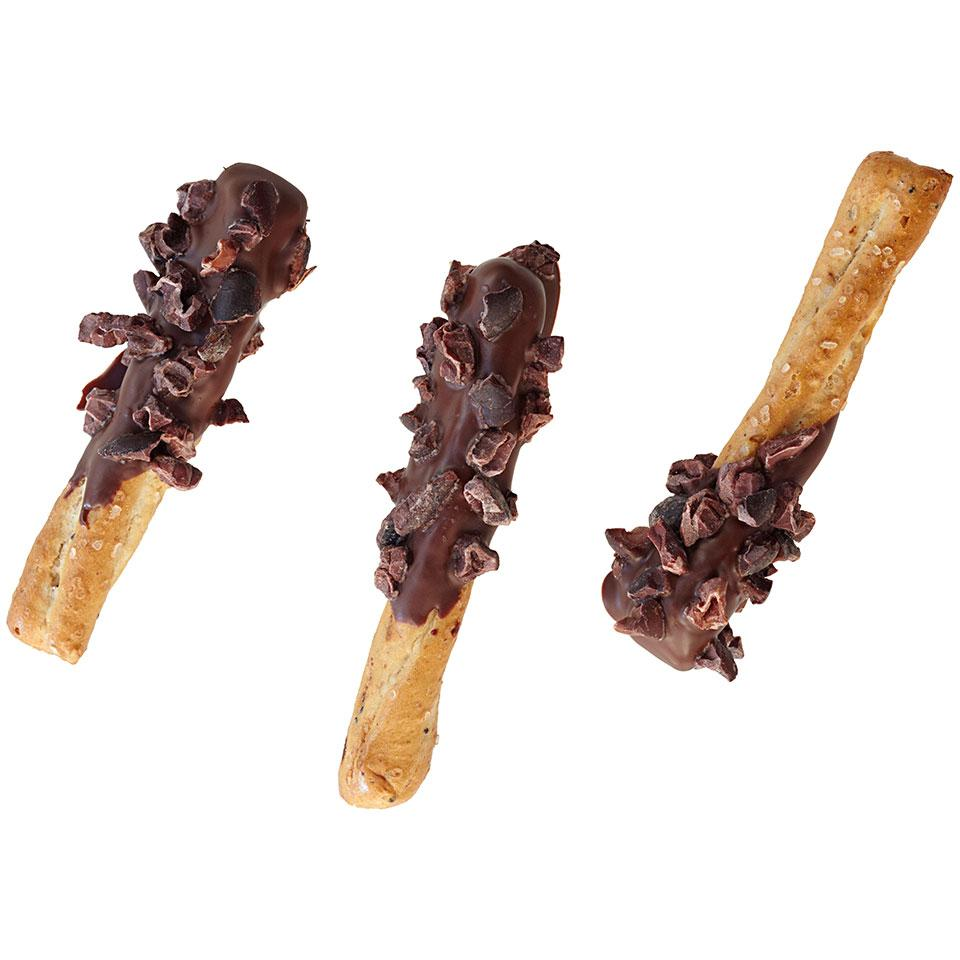 Satisfy your sweet tooth (and your salty tooth!) simultaneously with this chocolate-dipped pretzel recipe. Cocoa nibs give these chocolate-dipped pretzels an extra layer of chocolaty flavor.