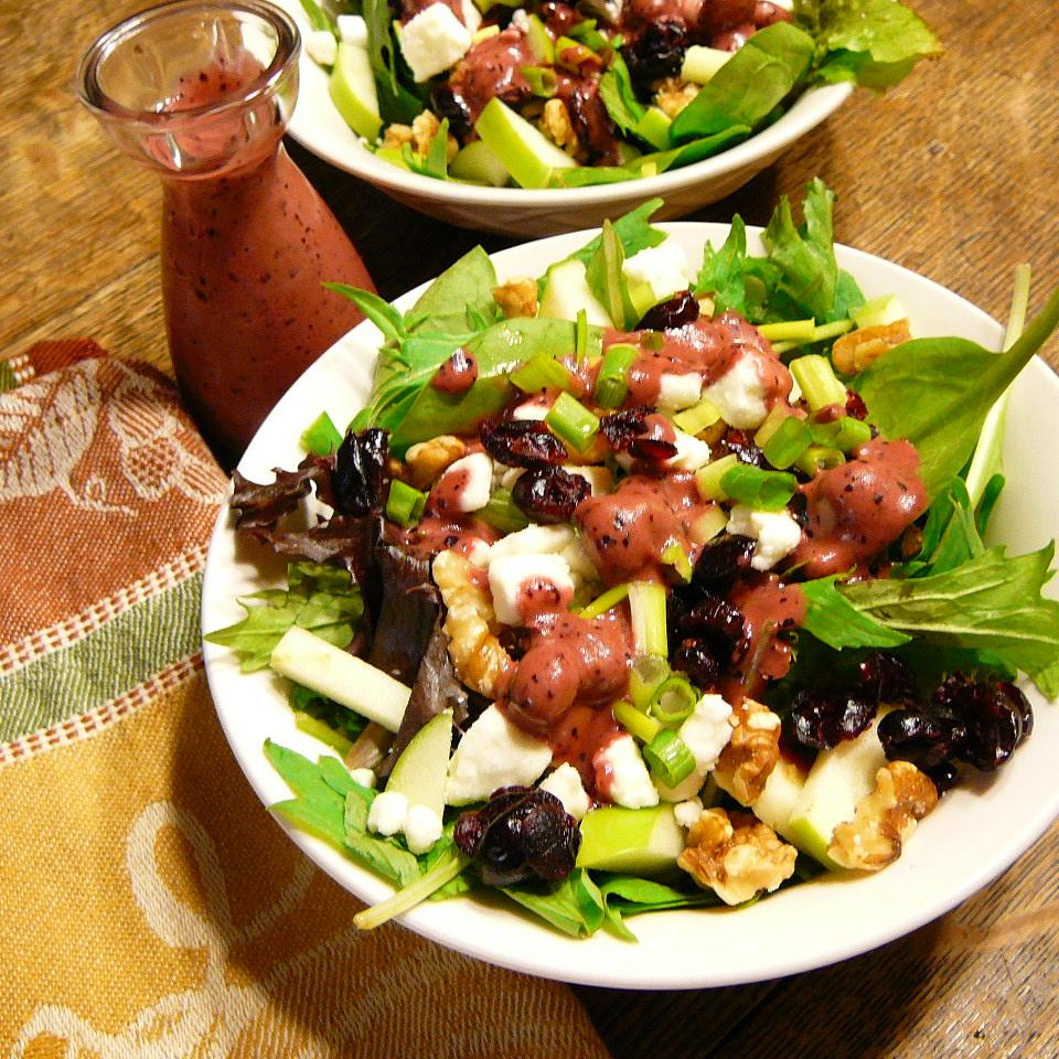 Green Apple Salad With Blueberries, Feta, And Walnuts