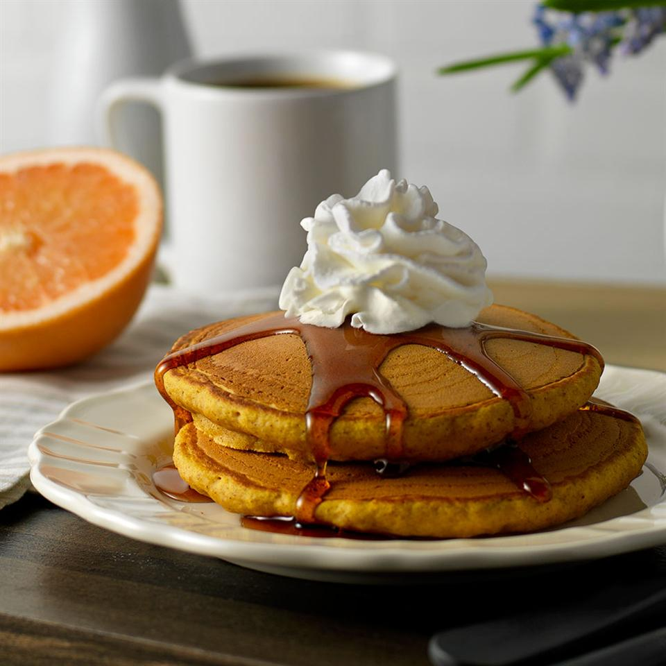 Pumpkin Spice Pancakes with Cinnamon Syrup
