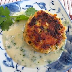 Asian Salmon Cakes with Creamy Miso and Sake Sauce HUNNY OH