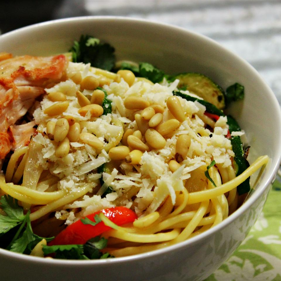 Browned Butter and Mizithra Cheese Pasta with Chicken, Spinach and Herbs wynter