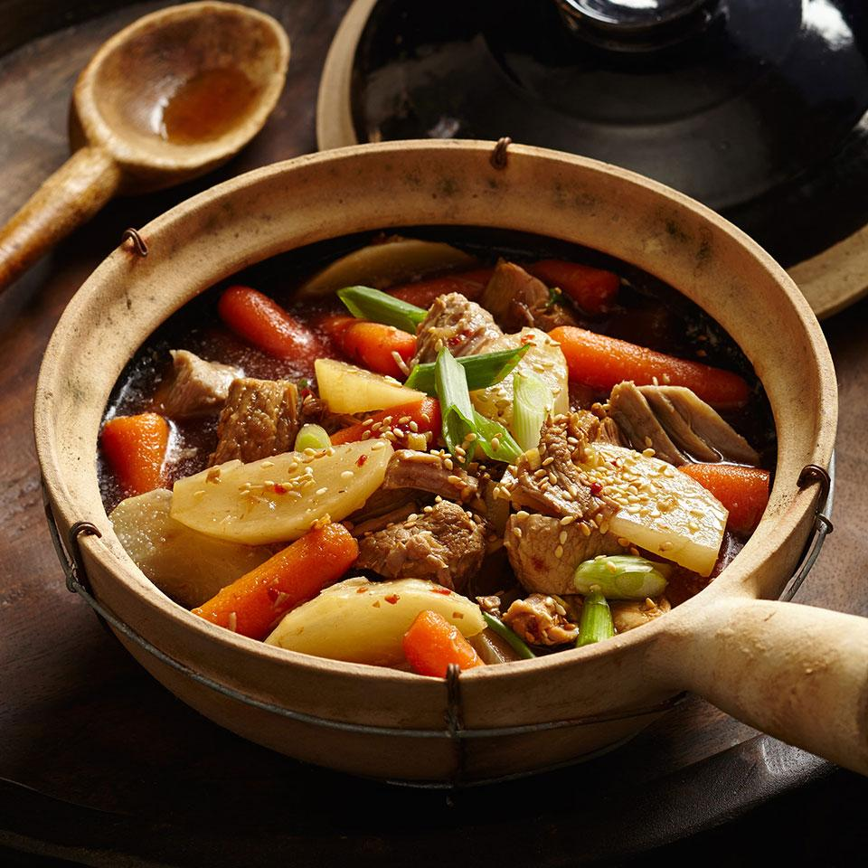 The richly flavored red braises characteristic of Chinese cooking make warming winter meals that can be adapted to a slow cooker. Typically, seasonings of anise, cinnamon and ginger distinguish these dishes. Pork shoulder becomes meltingly tender during the slow braise. Serve over noodles or brown rice, with stir-fried napa cabbage.