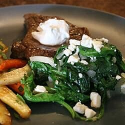 wilted spinach with cherries and goat cheese recipe