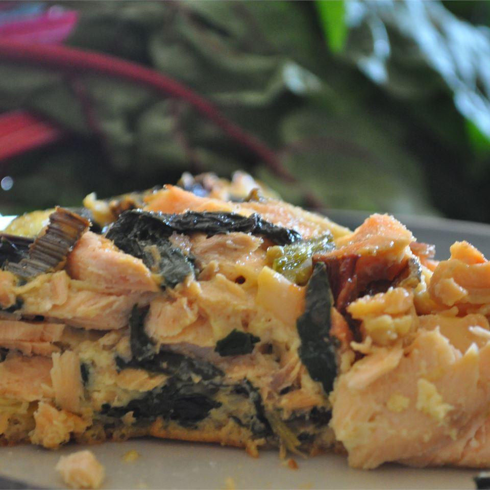 Salmon and Swiss Chard Quiche