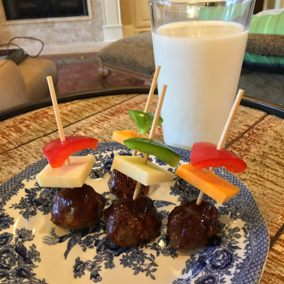 BBQ Meatballs with Pepper and Cheese Animal Cut-Outs