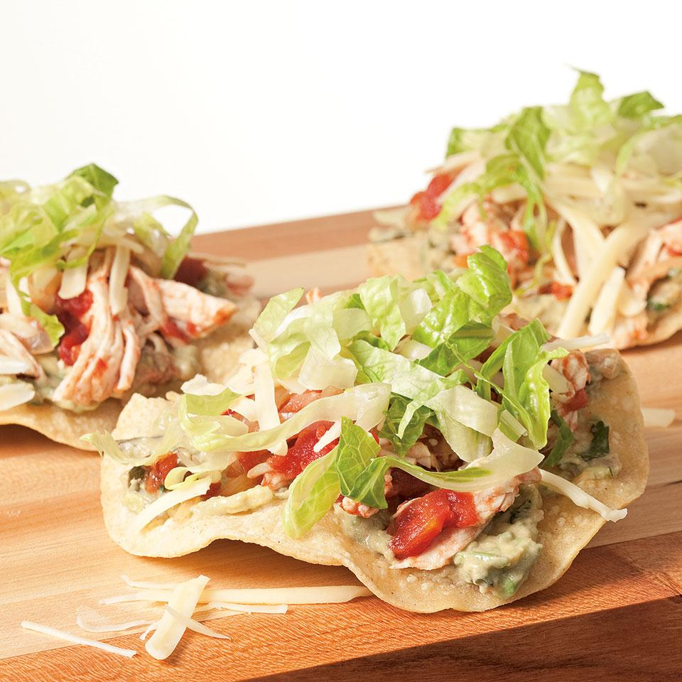 Shredded leftover turkey tops homemade tostadas in this Tex-Mex favorite. Making your own tostada shells from fresh corn tortillas is easier than you might think—crisp them up in the oven while you prepare the toppings. Choose either regular petite diced tomatoes or those with added jalapeños, depending on your inclination for spicy food. Serve with black beans, rice and extra salsa or hot sauce on the side.