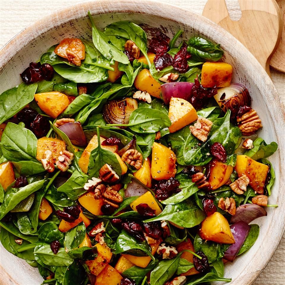 Roasted Butternut Squash with Onions, Spinach, and Craisins® Allrecipes Magazine