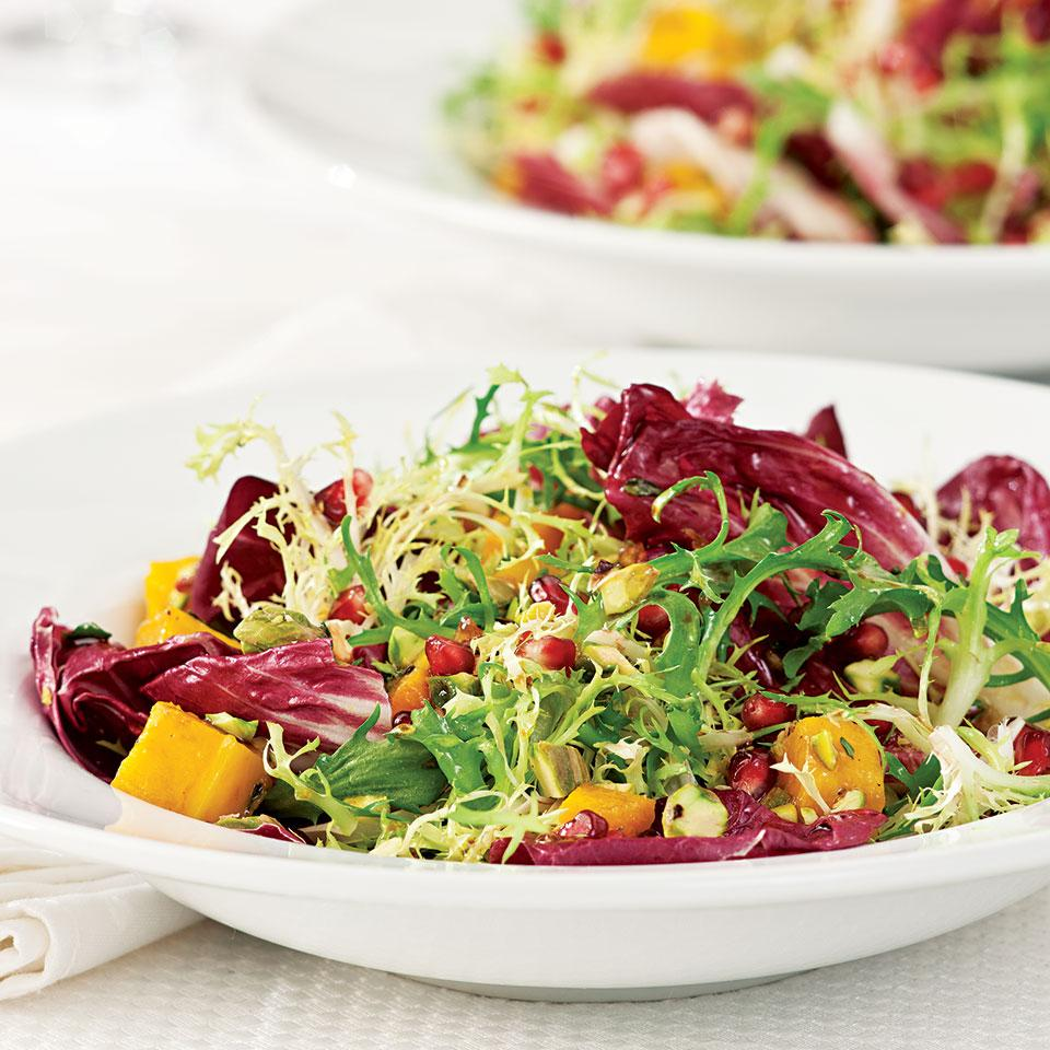 Winter Salad with Roasted Squash & Pomegranate Vinaigrette Romney Steele