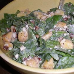 Spinach Salad with Peaches and Pecans Sharyn