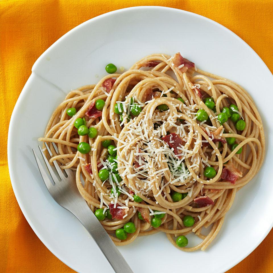 Our healthy spaghetti carbonara recipe is lower in calories and fat than a traditional spaghetti carbonara recipe, plus it boasts 9 more grams of fiber per serving from whole-wheat pasta. For the best flavor, use Parmigiano-Reggiano cheese. The eggs in the sauce are not fully cooked; if you're concerned about consuming undercooked eggs, use pasteurized-in-the-shell eggs in this spaghetti carbonara recipe. Source: EatingWell Magazine, January/February 2013