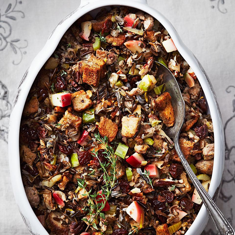This amazing wild-rice stuffing recipe is bursting with rustic fall flavors, including rye bread, sausage, apples, dried cherries, pecans and fresh herbs.