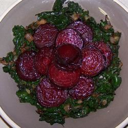 Roasted Beets and Sauteed Beet Greens