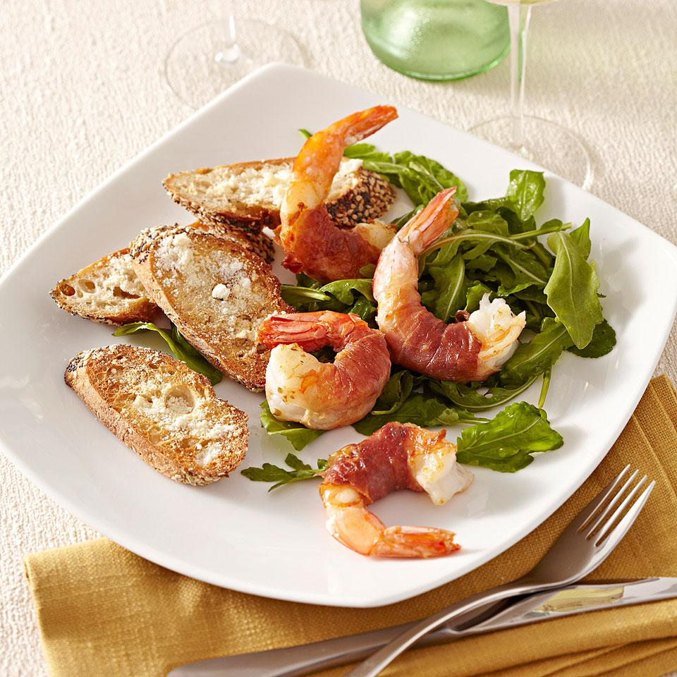 Prosciutto-Wrapped Shrimp with Arugula Salad EatingWell Test Kitchen