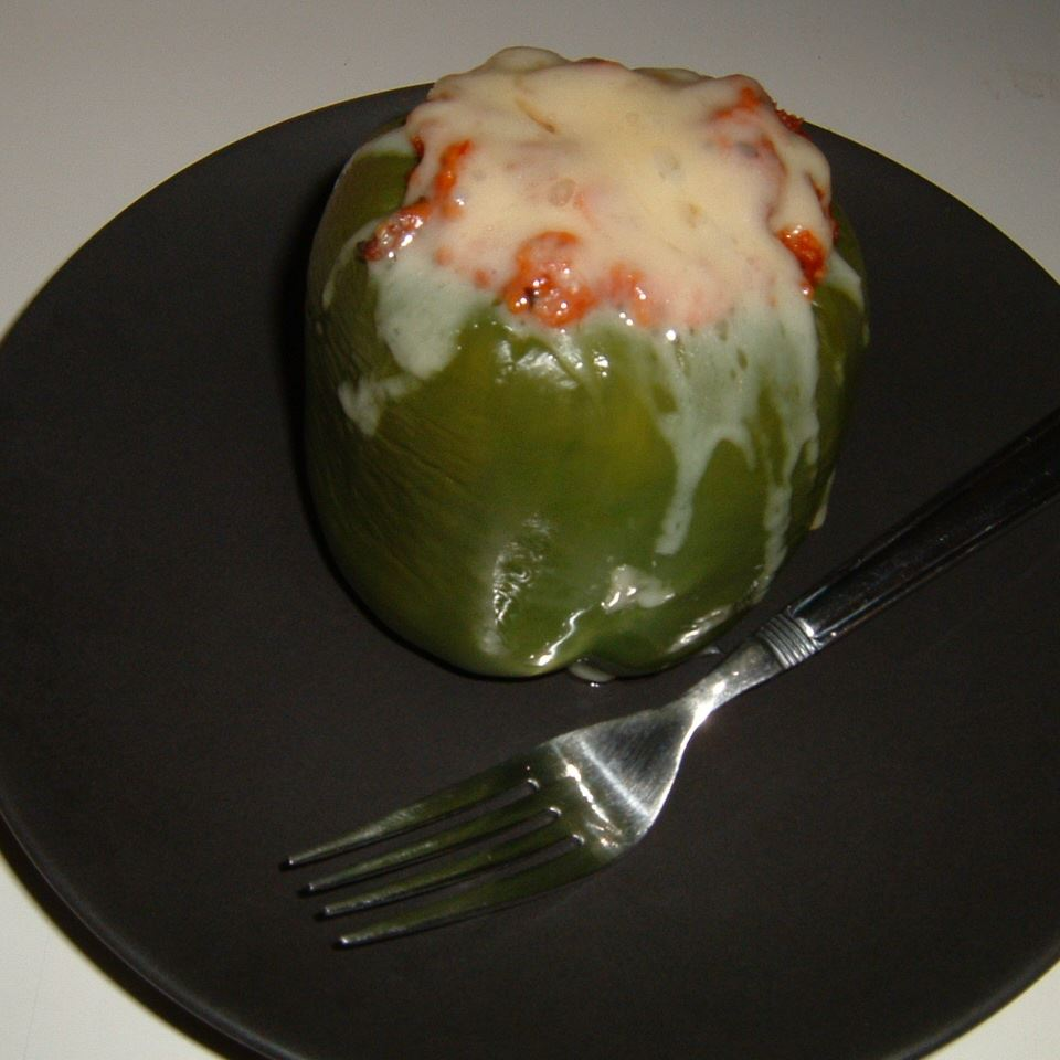 Green Bell Peppers stuffed with Tomato Lentil Couscous Caroline C