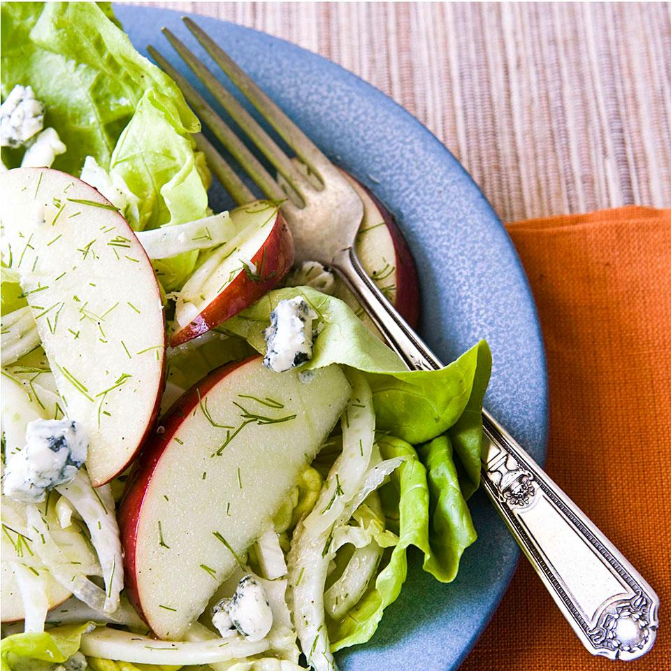 Apples and blue cheese are a heavenly match in this fennel and apple salad recipe dressed with a tangy cider-vinegar dressing. Source: EatingWell Soups Special Issue April 2016