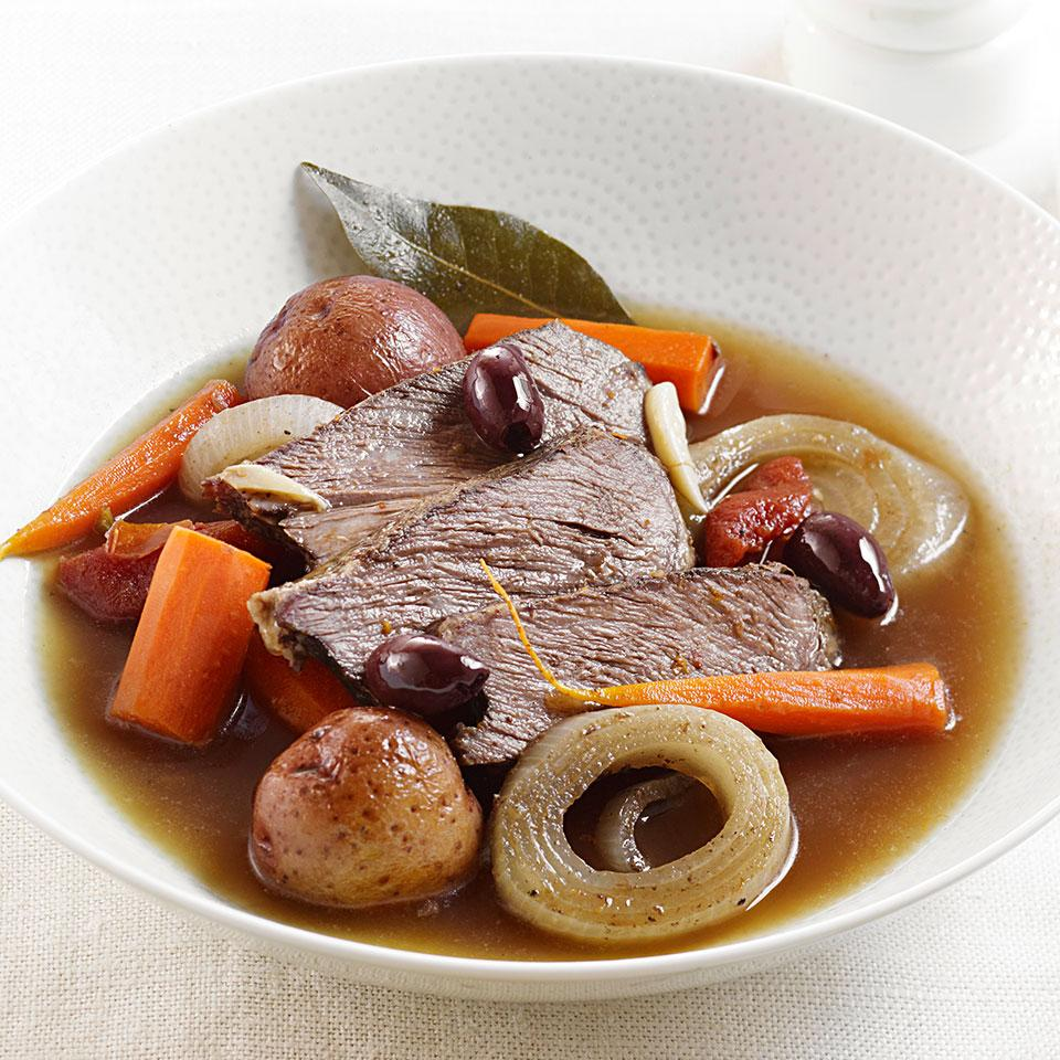 Slow-Cooker Orange-Scented Pot Roast with Olives Carolyn Malcoun