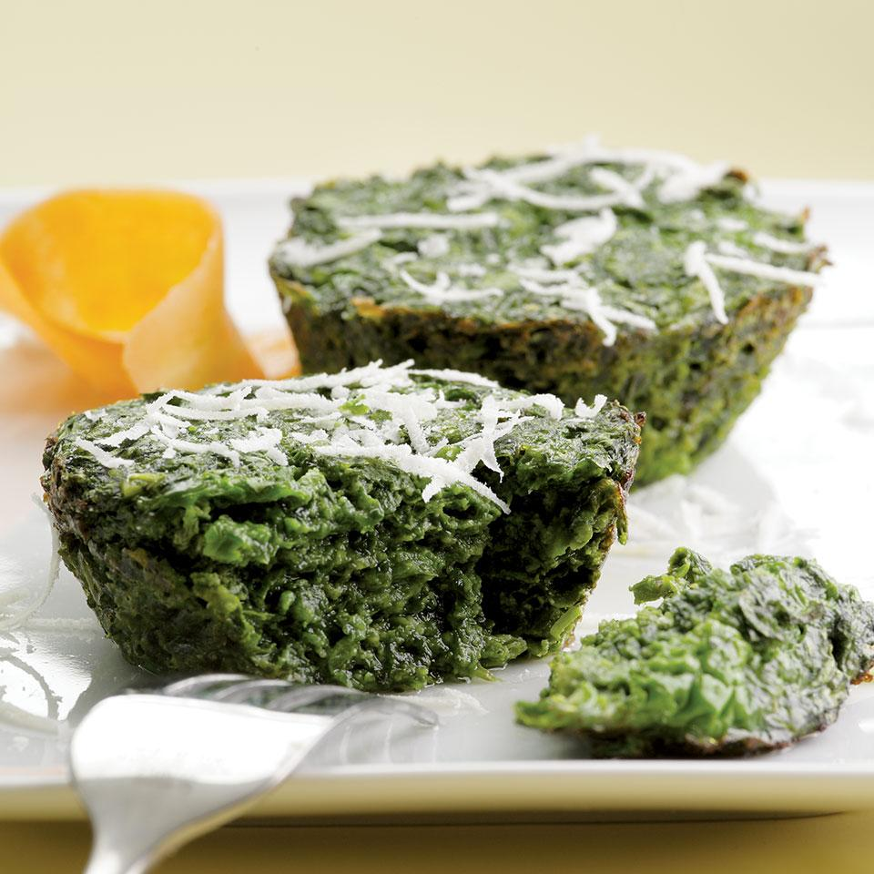 Parmesan Spinach Cakes EatingWell Test Kitchen