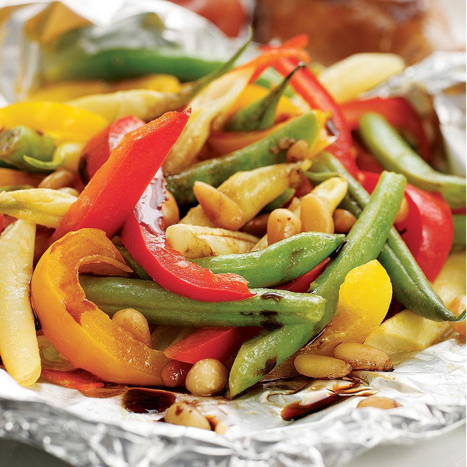 Packet-Roasted Balsamic Green Beans & Peppers Matthew G. Kadey