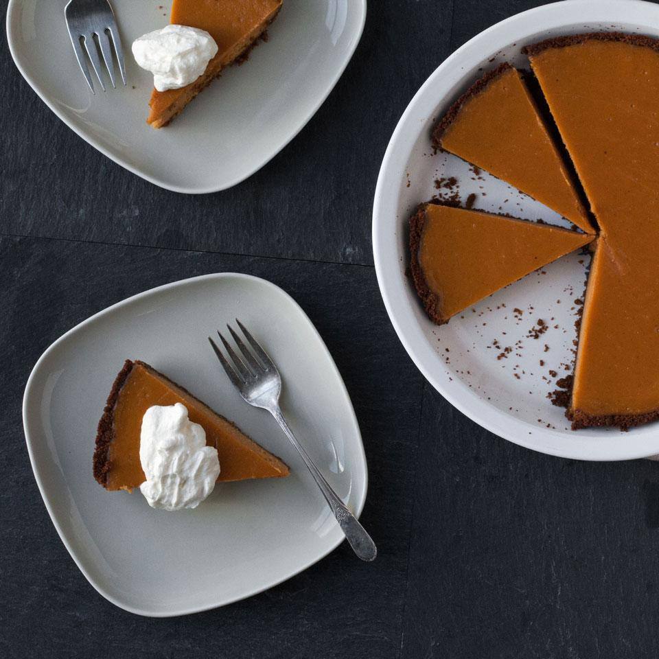 Sweet potatoes make a mouthwatering, creamy custard for the filling in this lightened-up pie with an easy gluten-free cookie crust. Serve with a dollop of whipped cream for dessert.