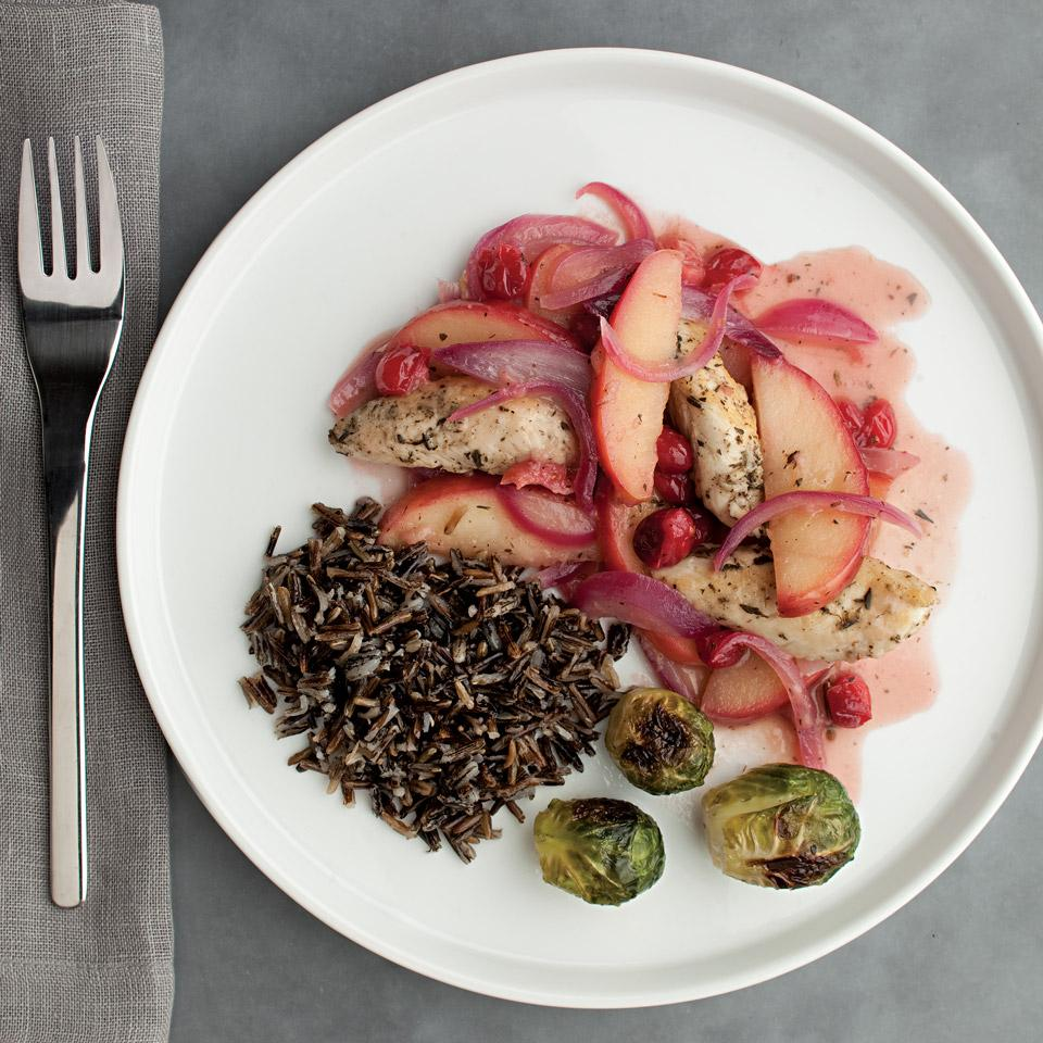 Celebrate the flavors of fall with chicken cooked in a fast apple-cranberry sauce. If you prefer a less tart flavor, try dried cranberries instead of fresh. Serve with quick-cooking wild rice and roasted Brussels sprouts.