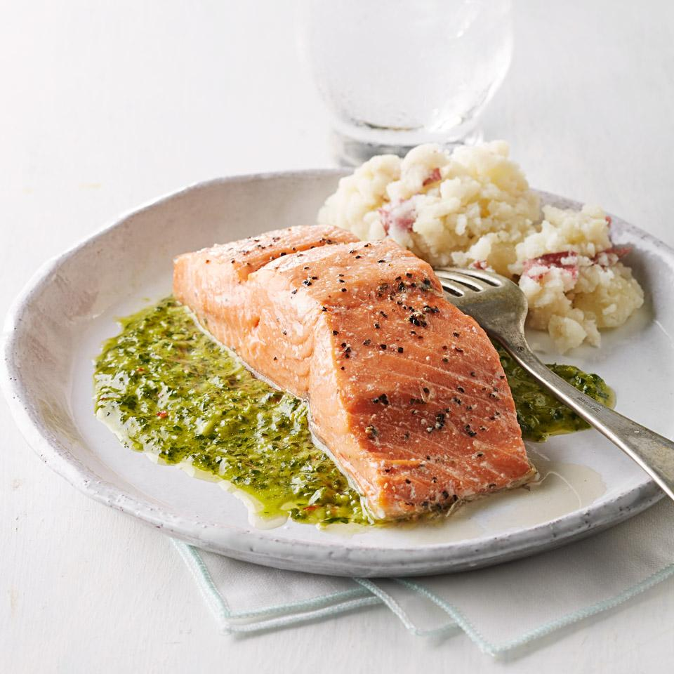 Roast Salmon with Chimichurri Sauce Katie Workman