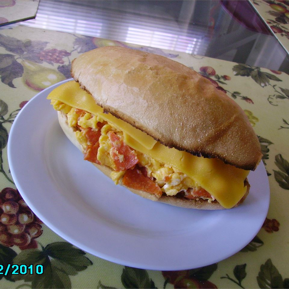 Scrambled Egg and Pepperoni Submarine Sandwich JAYEAST