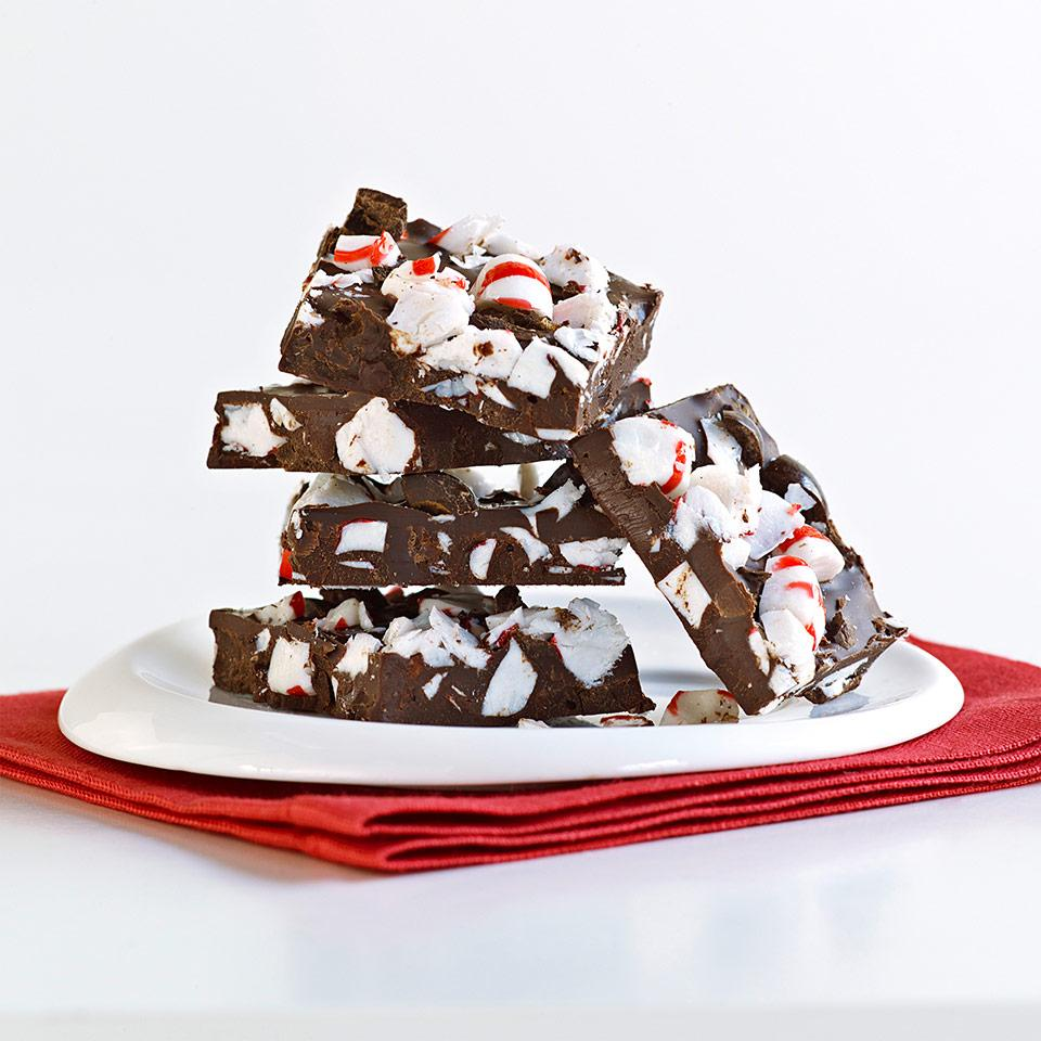 With just a few simple steps, you can transform plain chocolate into a divine treat with this chocolate bark recipe. We stir chopped peppermint candies and chocolate-covered espresso beans into this chocolate bark, which is perfect for a gift.