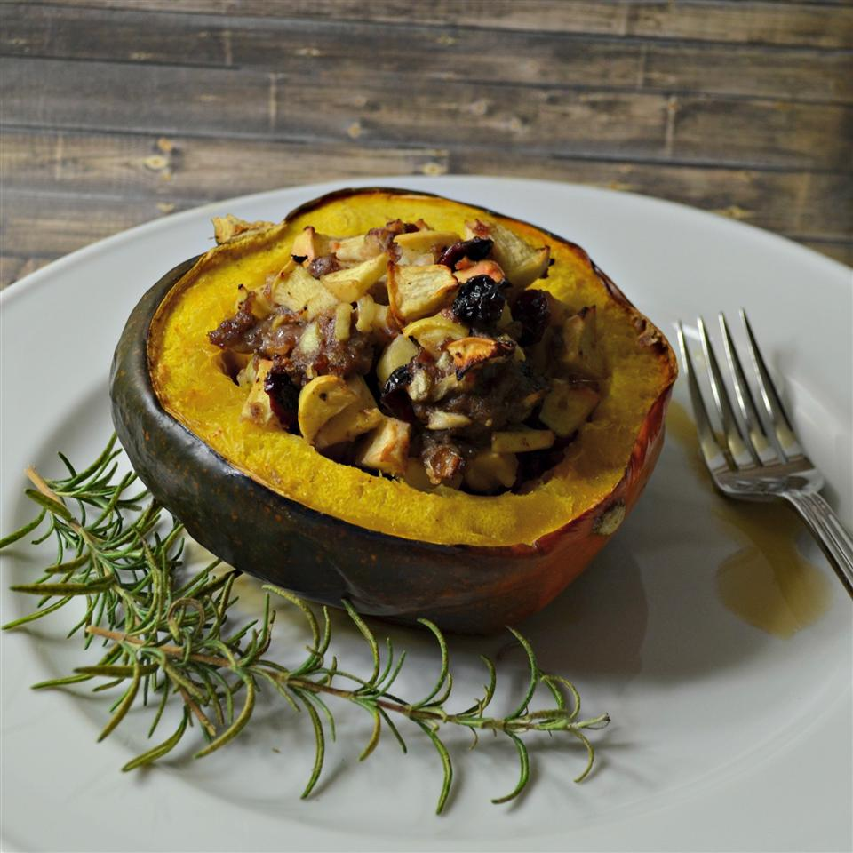 Apple and Sausage Stuffed Acorn Squash Kim's Cooking Now