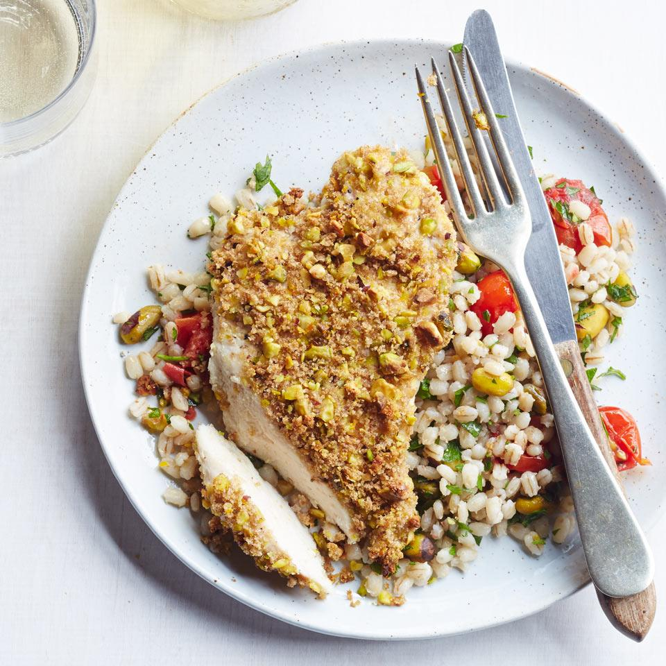 Barley and pistachios give this healthy chicken recipe a double dose of nutty flavor. For an easy change-up, swap in your favorite whole grain, such as brown rice, farro or quinoa.