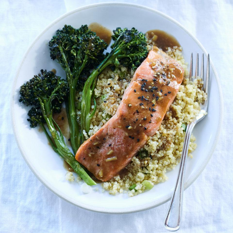 A quick Asian orange sauce gives this healthy salmon dinner recipe bright flavor. No broccolini? Swap in 8 ounces broccoli florets and roast for 5 minutes in Step 3. Source: EatingWell Magazine, January/February 2017