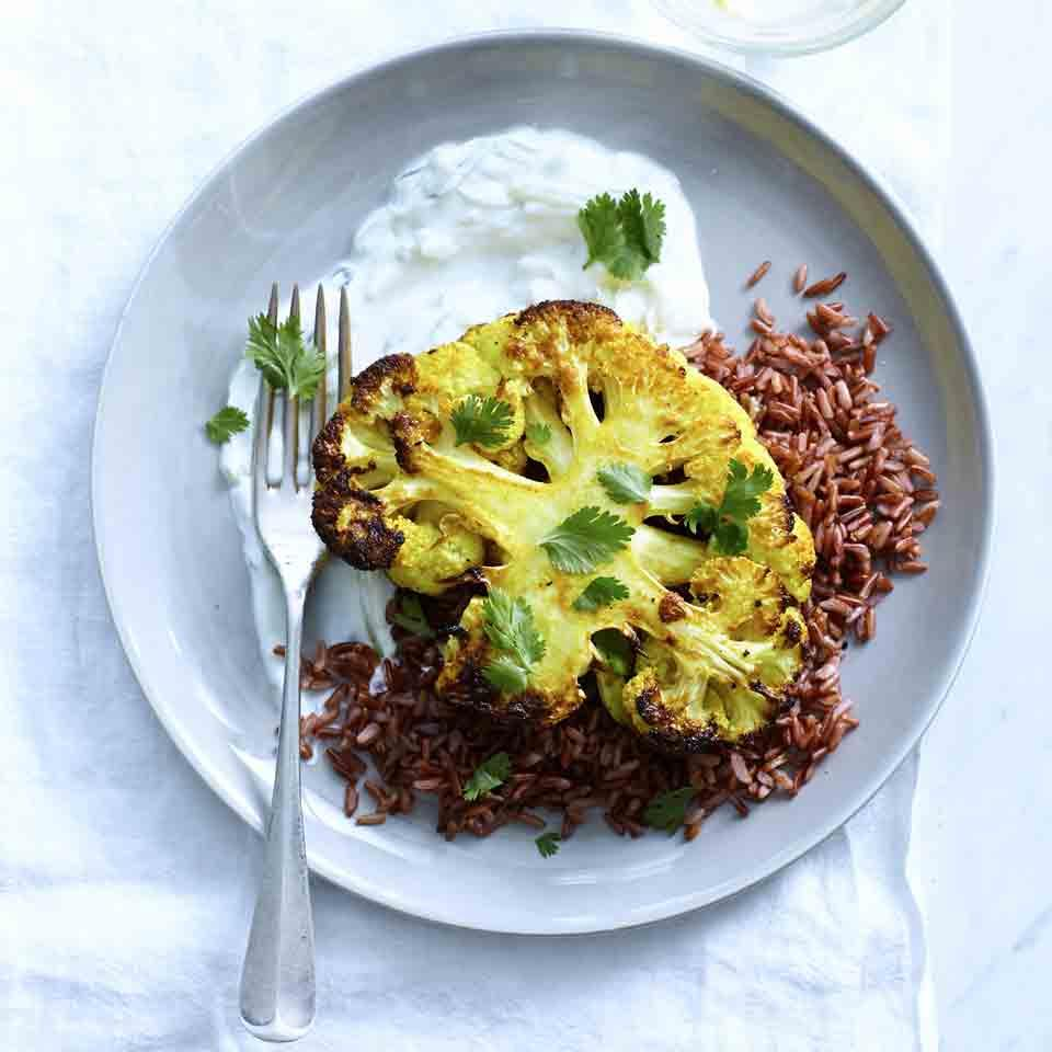Curried Cauliflower Steaks with Red Rice & Tzatziki EatingWell Test Kitchen