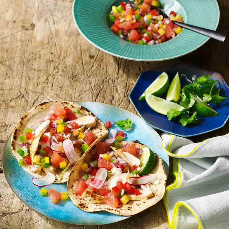 Chicken Fajitas with Red Grapefruit Salsa Robb Walsh
