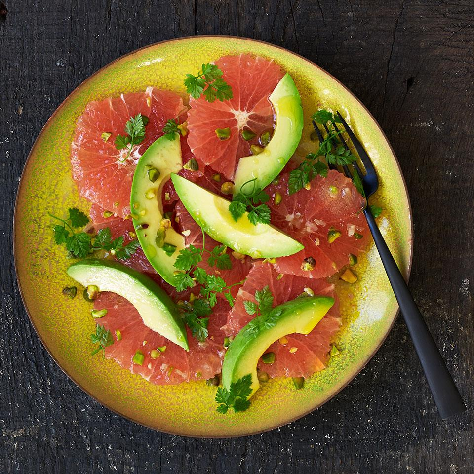 Red Grapefruit Salad with Avocado & Pistachios EatingWell Test Kitchen