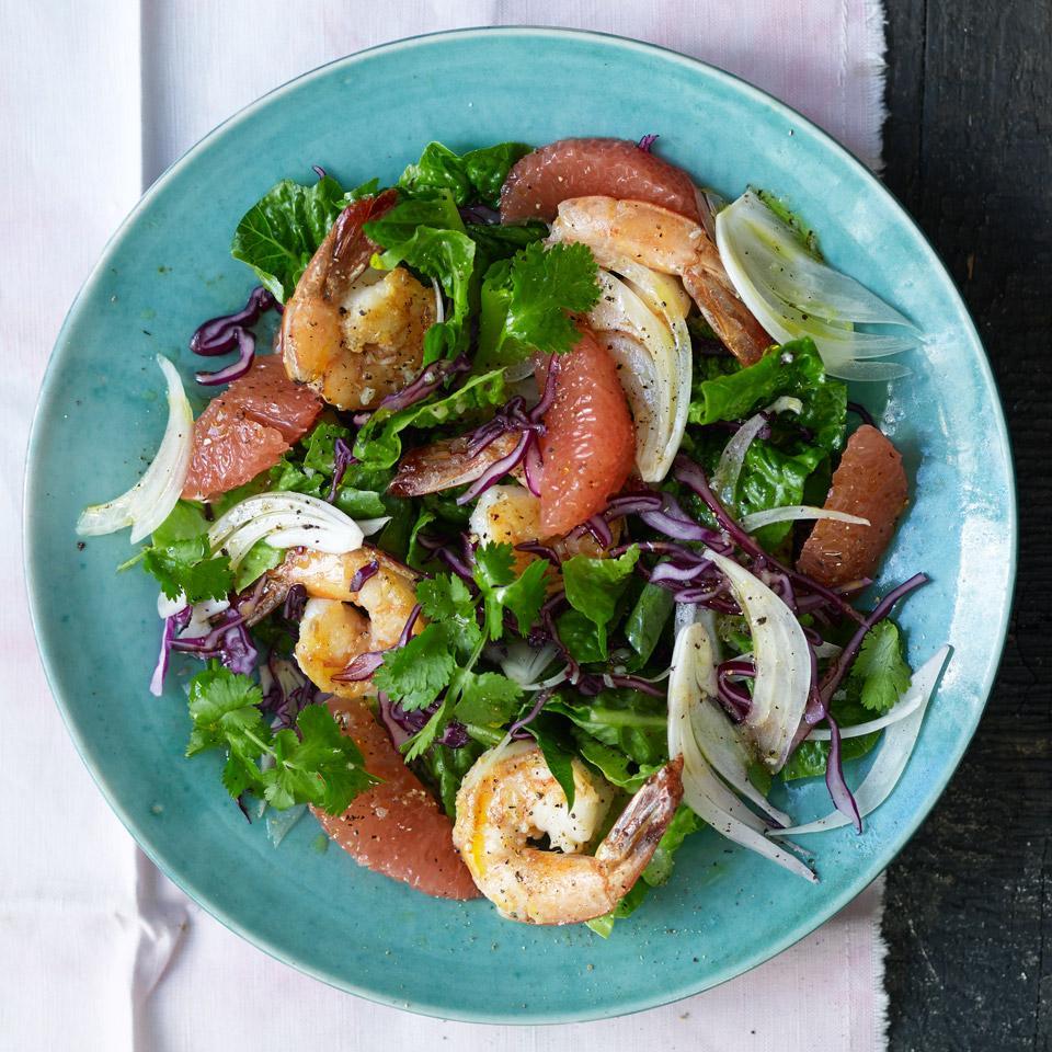Romaine Salad with Grapefruit & Shrimp EatingWell Test Kitchen