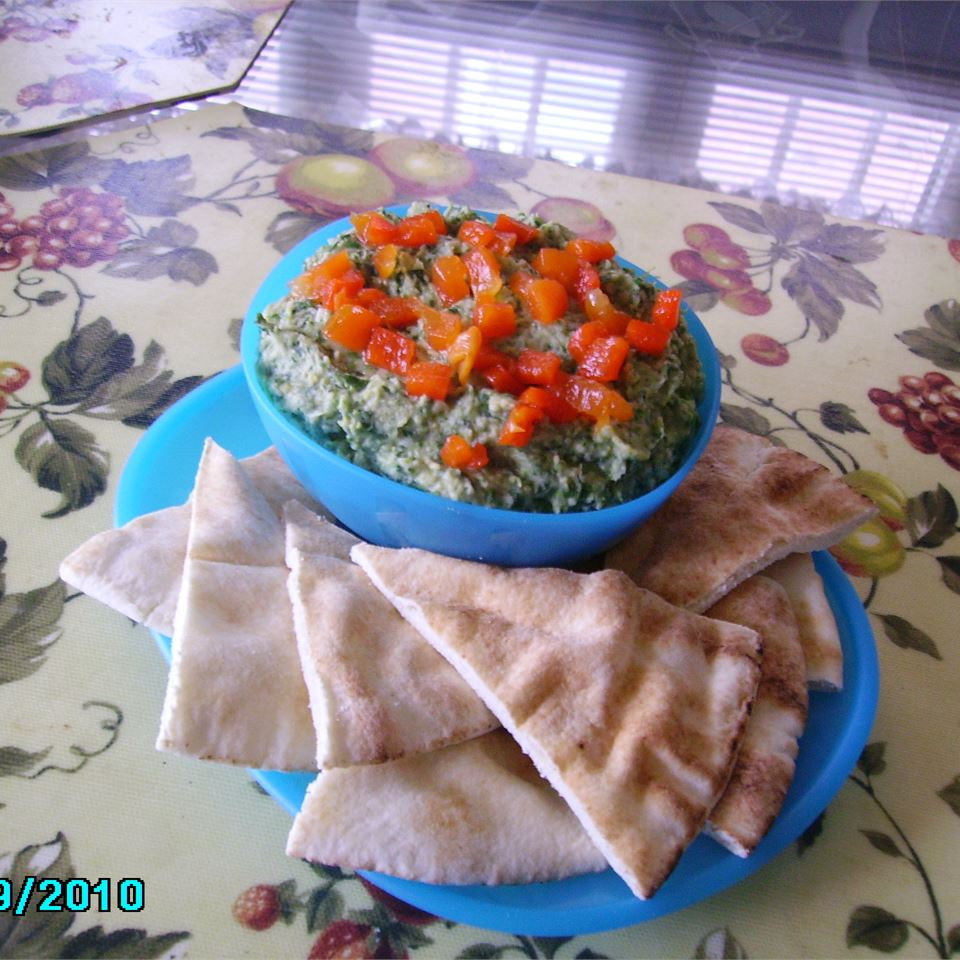 Spinach Artichoke Hummus with Roasted Red Peppers Christina