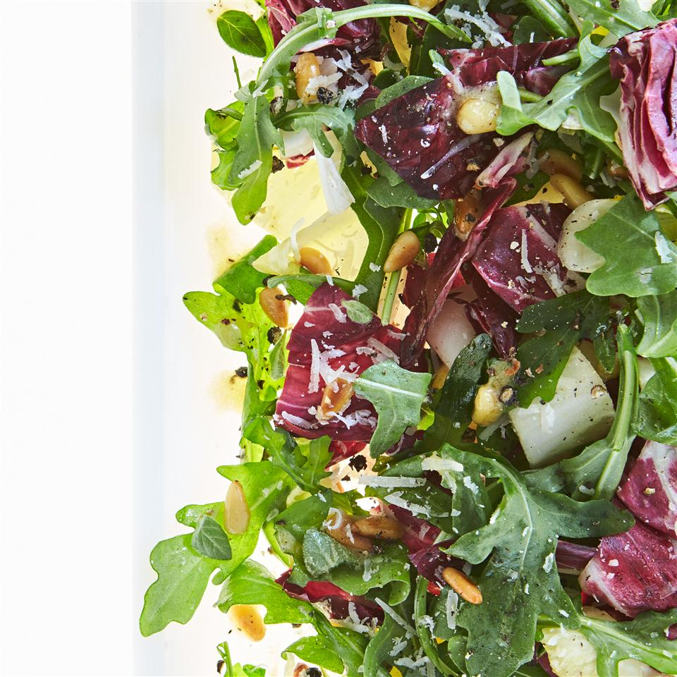 Tri-Color Chopped Salad with Pine Nuts and Parmesan Cheese Allrecipes Magazine