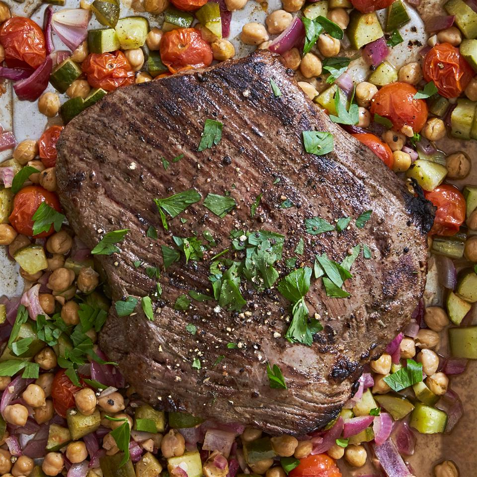 Greek Flank Steak and Veggie Salad Allrecipes Magazine