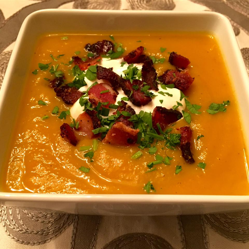 Roasted Butternut Squash Soup with Apples and Bacon Ian Green