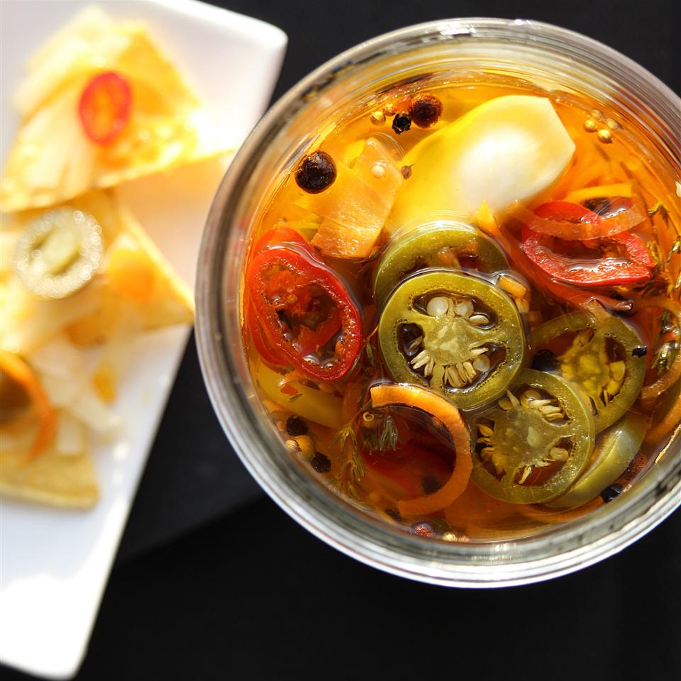 Pickled Garlic and Jalapeno Peppers