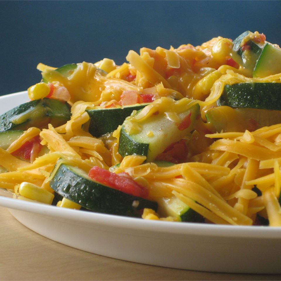 Zucchini and Corn Topped with Cheese
