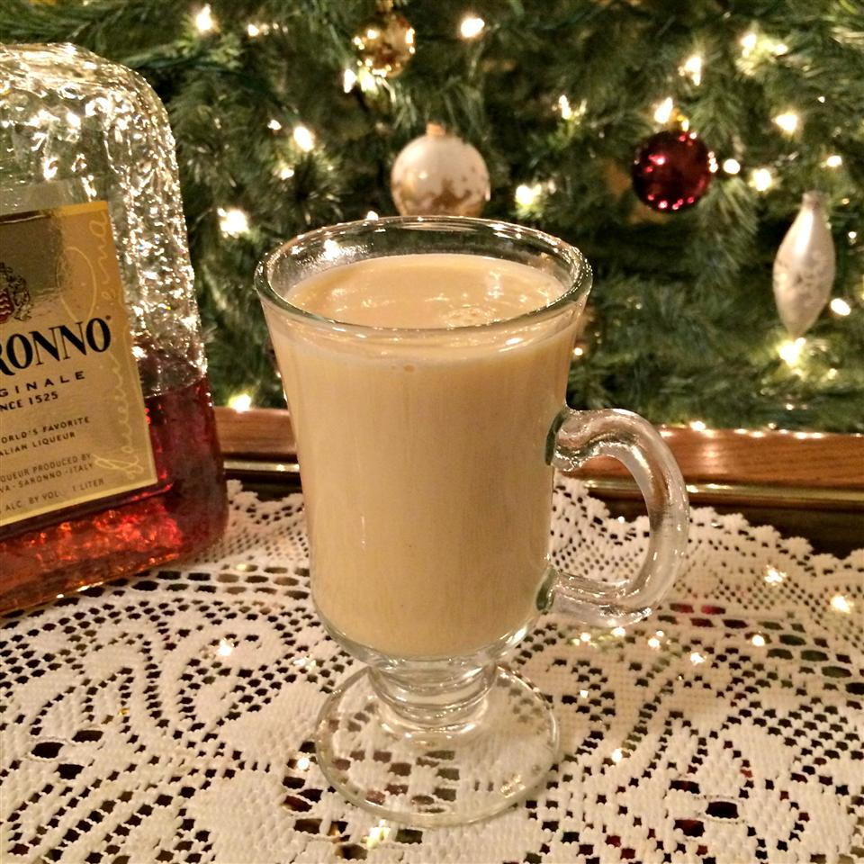 "Prepared eggnog gets a bump of almond-flavored liqueur. You'll simply stir amaretto liqueur into prepared eggnog that you've heated up in the microwave. ""If you like eggnog and amaretto, you will like this!"" says Kim's Cooking Now. ""I think next time I will thin out the eggnog with a bit of milk before warming to cut down on the sweetness a bit."""