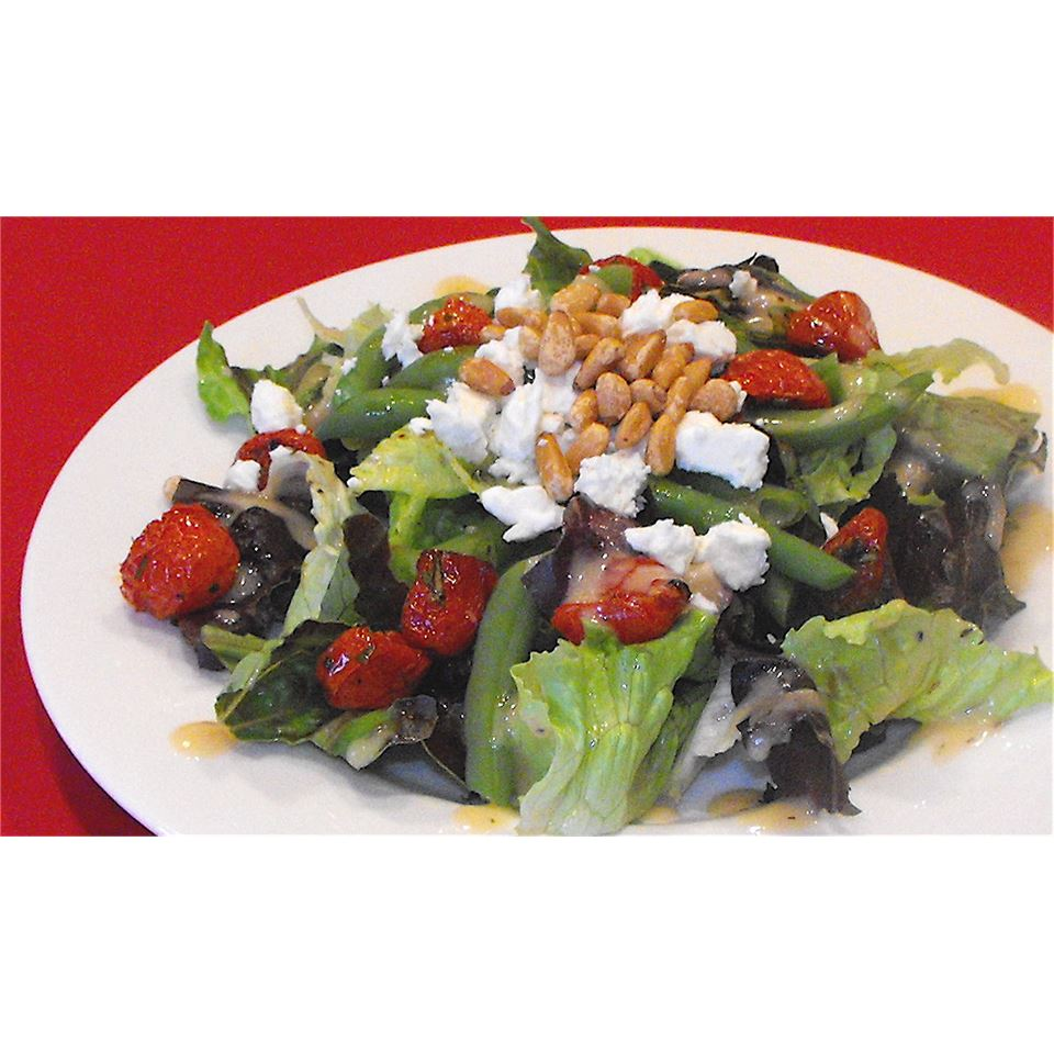 Feta and Slow-Roasted Tomato Salad with French Green Beans bellepepper