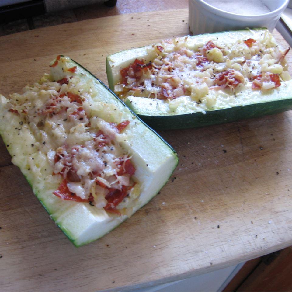 Pepperoni Stuffed Zucchini