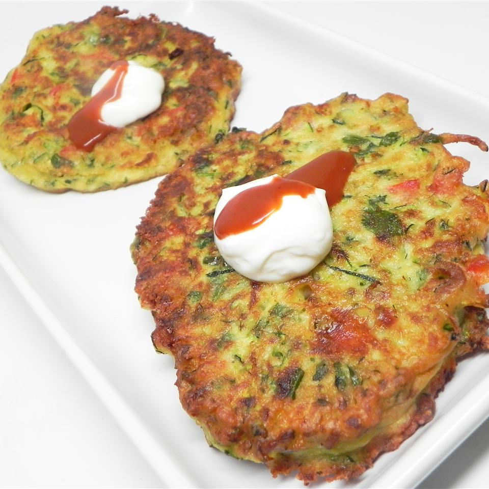 Indian-Influenced Zucchini Onion Pepper Latkes