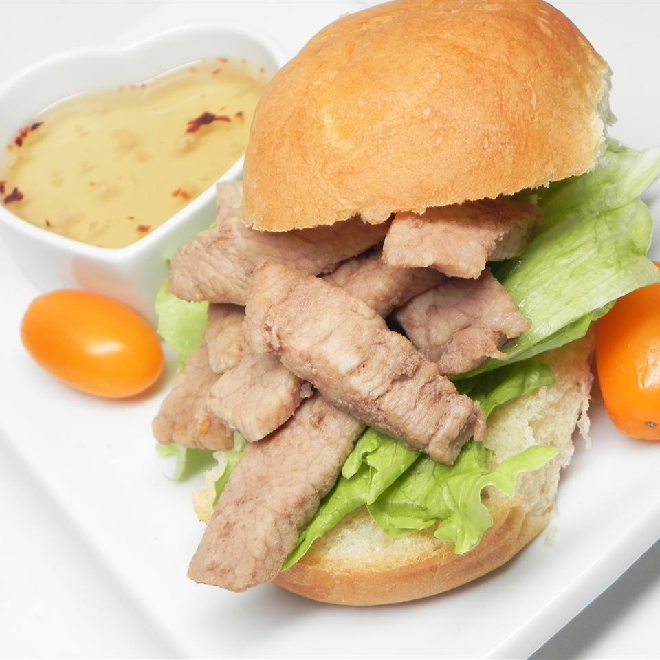 Marsala Pork Chop Sandwich with Hot and Sweet Dipping Sauce