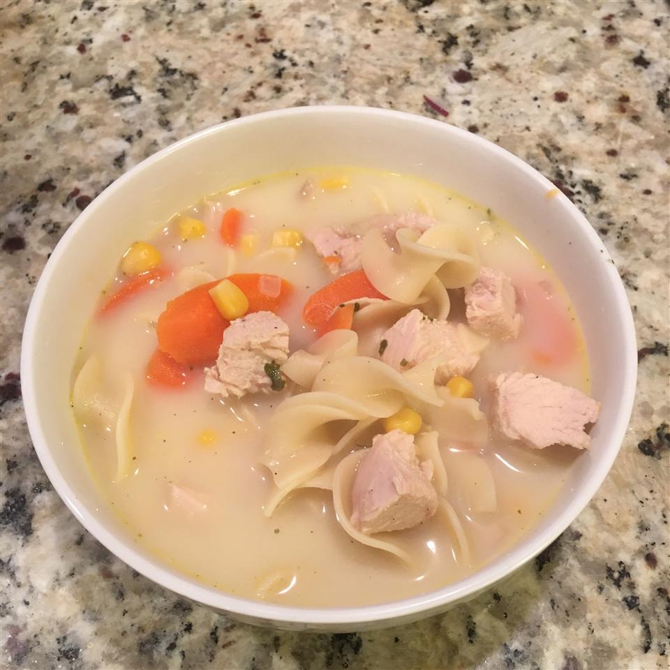 Creamy Chicken Egg Noodle Soup