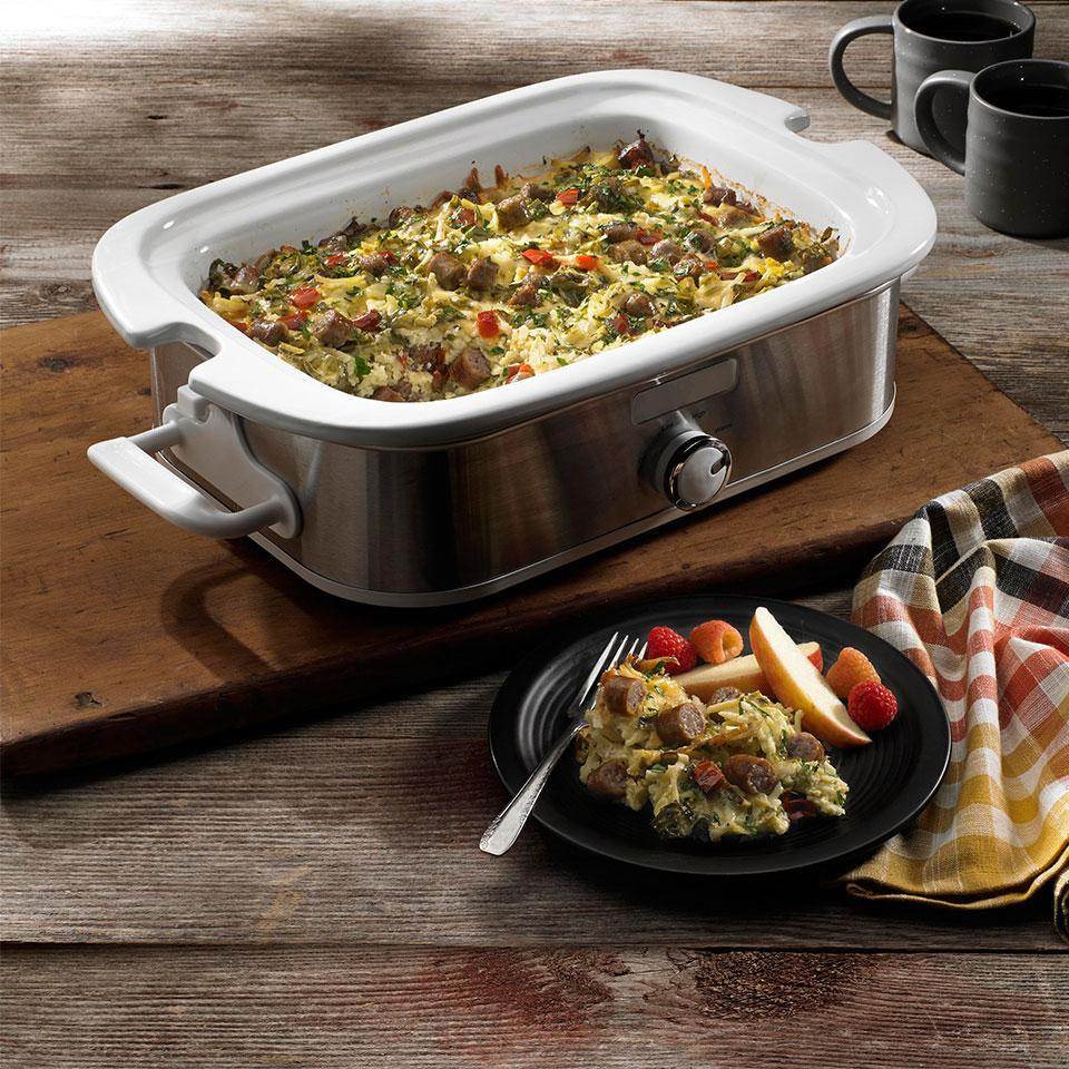Slow Cooker Overnight Breakfast Casserole From the Kitchen at Johnsonville Sausage