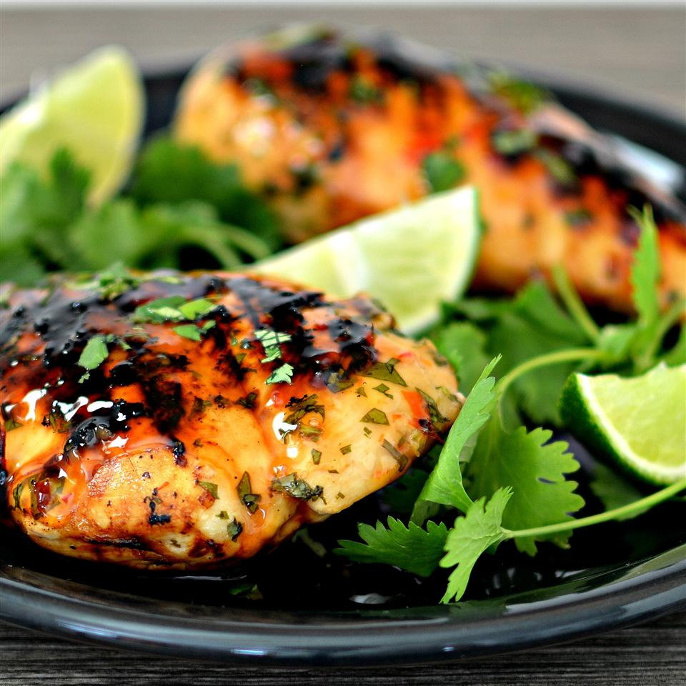 Grilled Lime Cilantro Chicken with Sweet Chili Sauce