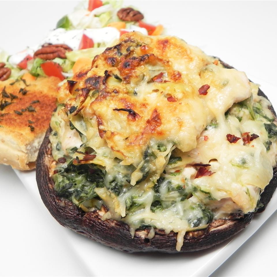 Chicken, Artichoke, and Spinach-Stuffed Portobellos